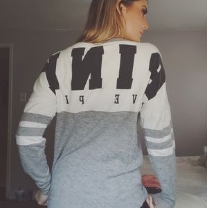 Grey & white VS PINK varsity sweater